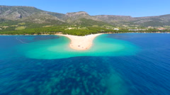 Beautiful aerial view of Zlatni Rat beach in Bol on the island of Brac, Croatia. Stock Footage