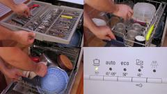Loading a dishwasher (composition) Stock Footage
