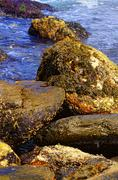 View of the rugged Atlantic rocky shore. - stock photo