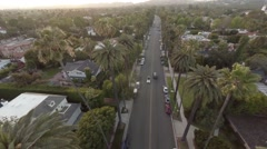 Aerial. Flying over road with palms Beverly Hills LA, California Stock Footage
