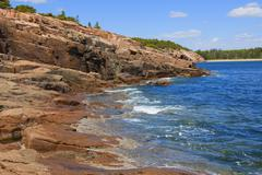 View of the rugged Atlantic rocky shore. Stock Photos