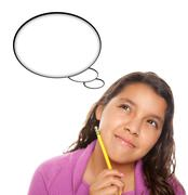 Hispanic Teen Aged Girl with Pencil and Blank Thought Bubble - stock photo