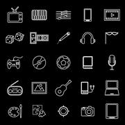 Entertainment line icons on black background Piirros