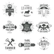 Second set of grey vector vintage craftsman logo designs, retro genuine leather Stock Illustration