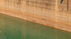 Low Water Levels On A Dam Wall Stock Footage