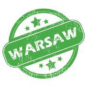 Warsaw green stamp - stock illustration
