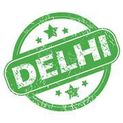 Delhi green stamp - stock illustration