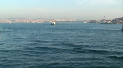 Ferry ships float on the Bosphorus. Istanbul Stock Footage