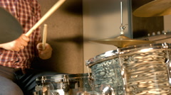 Drums Recording In Professional Studio Stock Footage