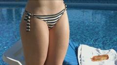 Closeup of female bottom, bikini zone. Stretch marks, cellulite Stock Footage