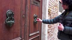 Hand Knocker Old wooden door. 4k UHD steadycam stock footage Stock Footage