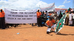 SUPPORTING REFERENDUM AT POLITICAL RALLY IN SOUTH SUDAN, AFRICA Stock Footage
