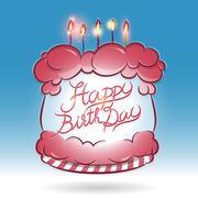 Happy birth day cake - stock illustration