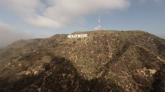 Aerial. Flying over Hollywood Sign. Griffith Observatory,  - stock footage
