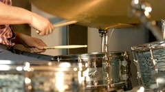 Music track Recording With Acoustic Drums Stock Footage