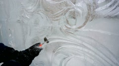 Ice sculptor at work Stock Footage
