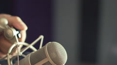 Preparing Mic For Vocal Recording - stock footage