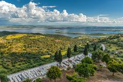 Portugal, Monsaraz . View from the fortress walls to neighboring Spain . Stock Photos