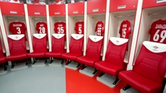 Spartak football team dressing room - stock footage