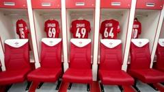Spartak football team dressing room - stock footage