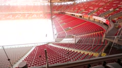 Winter interior view of Otkrytiye Arena stadium. Stock Footage