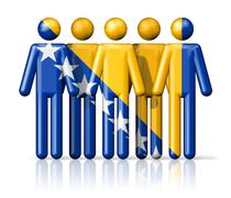 Flag of Bosnia and Herzegovina on stick figure Stock Illustration