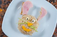 Animated bunny plate - stock photo