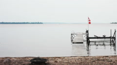 Calm Lake Beach on a Cloudy Day in Georgian Bay Canada Stock Footage