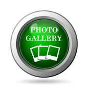 Photo gallery icon. Internet button on white background. - stock illustration