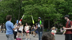 Jugglers Washington Square Park summer juggling slow motion 4K NYC Stock Footage