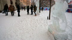 GUM shopping center, view of ice statue and Christmas tree. - stock footage