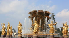 Fountain Friendship of the people on VVC (VDNH) in Moscow, Russia Stock Footage