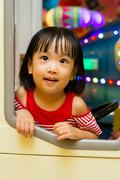 Little Asain Chinese Bus Driver - stock photo