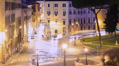 Piazza D'Aracoeli at dawn, Rome, Italy. Time Lapse. 1280x720 Stock Footage