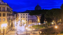 Square D'Aracoeli at sunrise, Rome, Italy. TimeLapse. 1280x720 - stock footage