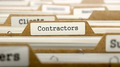 Contractors Concept with Word on Folder Stock Photos