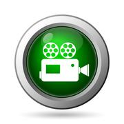 Video camera icon. Internet button on white background. - stock illustration