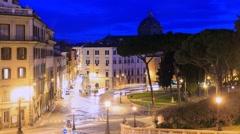 Ladder Cordonata at sunrise, Rome, Italy. Time Lapse. 1280x720 Stock Footage