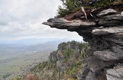 Appalachian cliff shelf jutting out from the mountainside Stock Photos