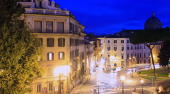 Square D'Aracoeli at dawn, Rome, Italy. Time Lapse. 4K Stock Footage