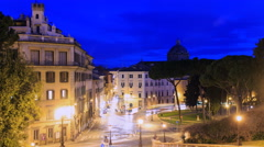 Piazza D'Aracoeli at sunrise, Rome, Italy. Time Lapse. 4K Stock Footage