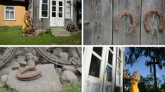 Woman decorate house with wheel and horse shoe. Clips collage Stock Footage