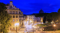 Piazza D'Aracoeli at sunrise, Zoom. Rome, Italy. Time Lapse. 4K Stock Footage