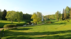 Rural green landscape. Pavlovsk Park, St. Petersburg. Stock Footage