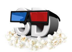 Cinema and movies concept with 3D glasses and popcorn - stock illustration