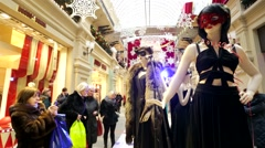 Public exhibition of costumes Stock Footage