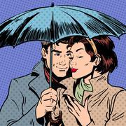 Rain man and woman under umbrella romantic relationship courtshi - stock illustration