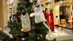 Christmas tree decorated with little nighties. Stock Footage