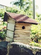 Wooden birdhouse - stock photo