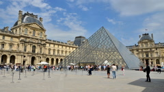 Tourists visiting Louvre Museum in Paris time-lapse Stock Footage